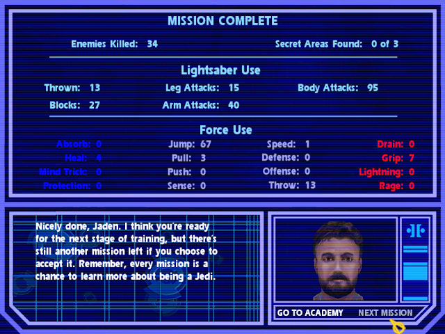 Jedi Academy mission complete screen stats