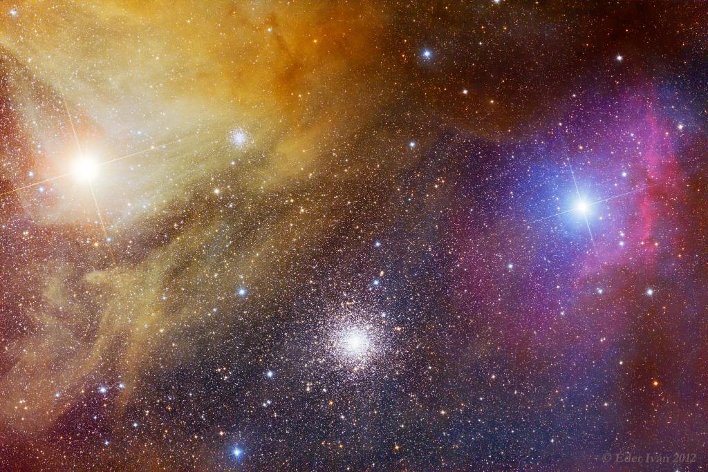 Sao sáng màu đỏ cam Antares nằm bên trái tấm hình trong khi cụm sao M4 thì nằm thấp hơn về bên phải so với ngôi sao Antares. M4 trải rộng 75 năm ánh sáng trong không gian với khoảng cách 7200 năm ánh sáng từ địa cầu nên làm cho nó có diện tích tương đương với bề mặt trăng rằm trên bầu trời đêm. Tác giả : Éder Iván chụp năm 2012.