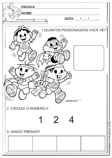 Atividade Matemática Dia da Criança Personagens Turma da Mônica