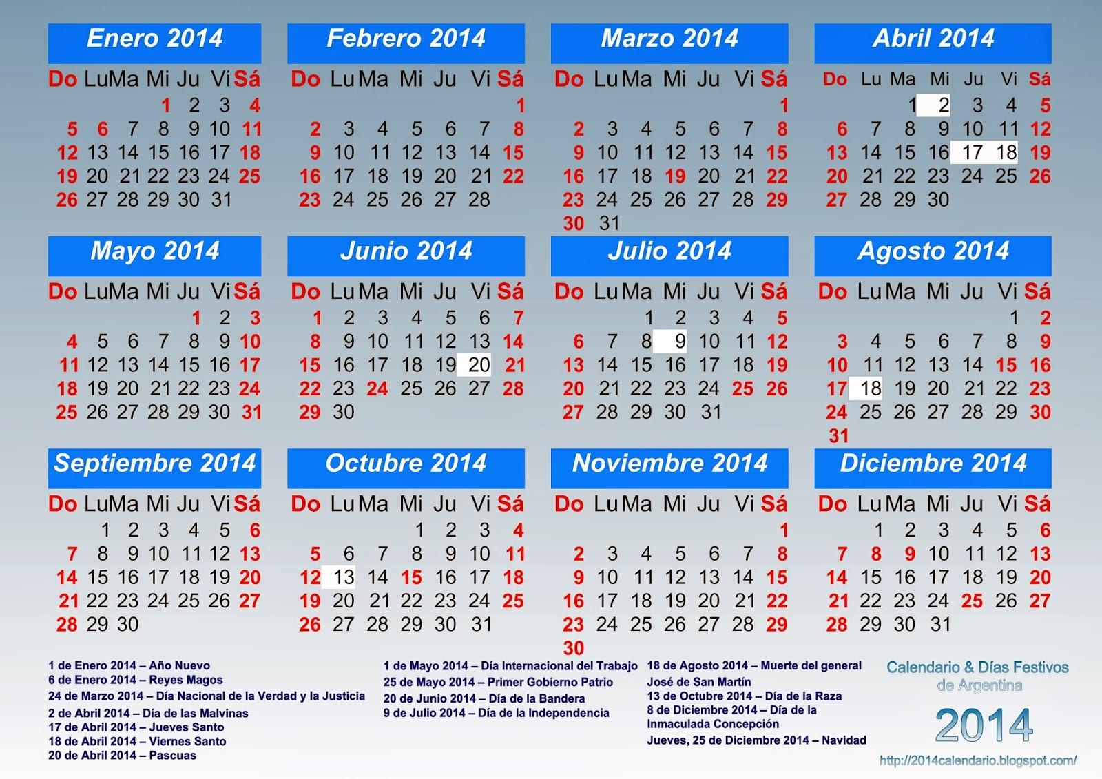 Calendario anual 2014 con feriados, Calendario 2014 para imprimir ...