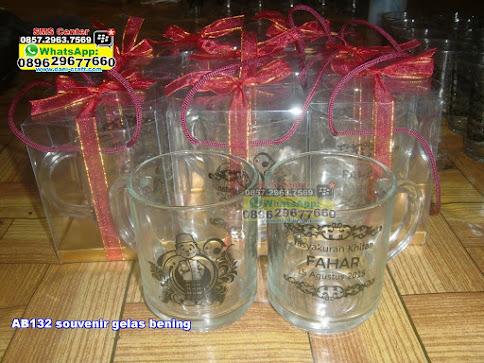 souvenir gelas bening jual