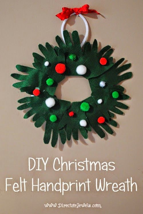 DIY Christmas Felt Handprint Wreath 12 Handprint Footprint Fingerprint Christmas Craft Gift Ideas | directorjewels.com
