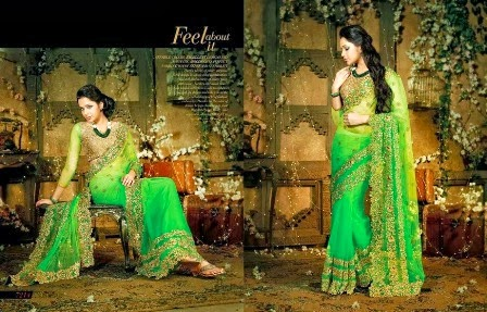 Embroidered Green Sarees Collection