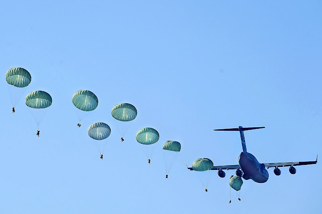 U.S. Army Rangers parachute from a U.S. Air Force C-17 Globemaster III