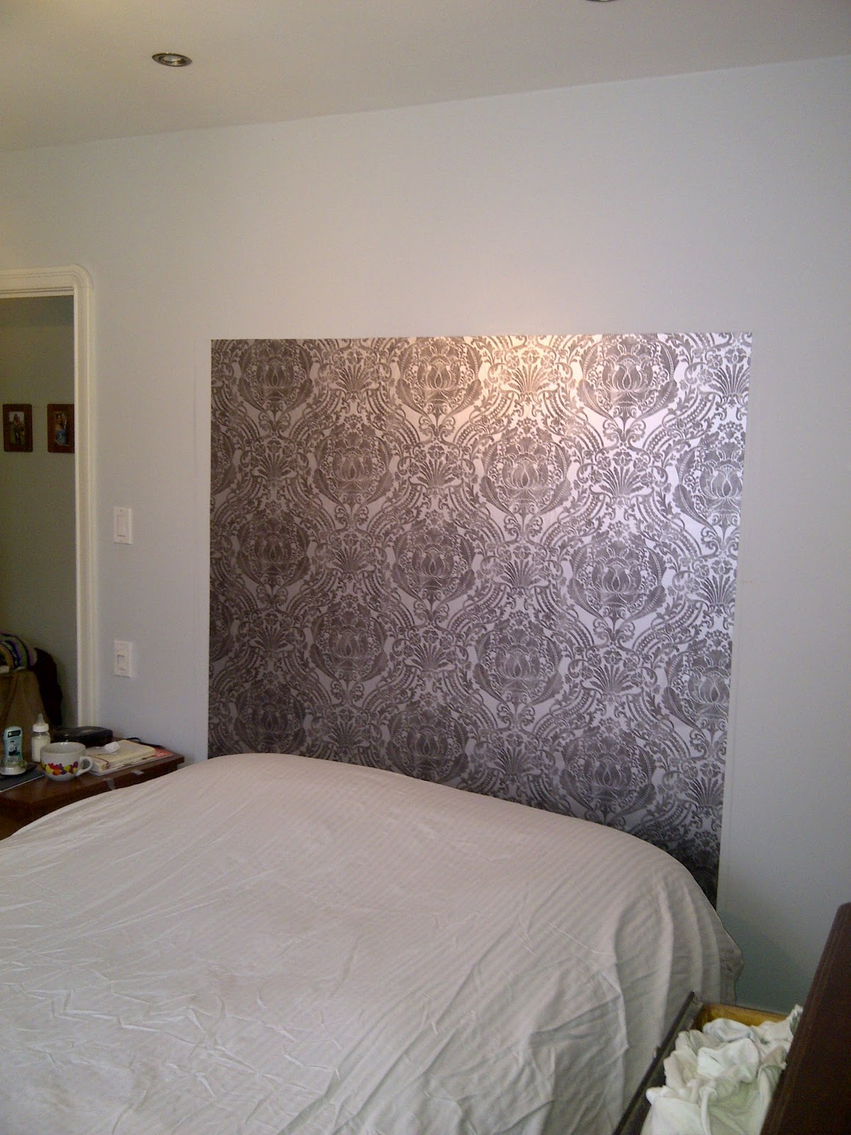 Not bad at all actually... unless you look super closely you can\u0027t even tell. So I did 3 pieces across it took about an hour and a half and this is what I ... & Live Love Laugh and RENOVATE!: DIY Wallpaper Headboard