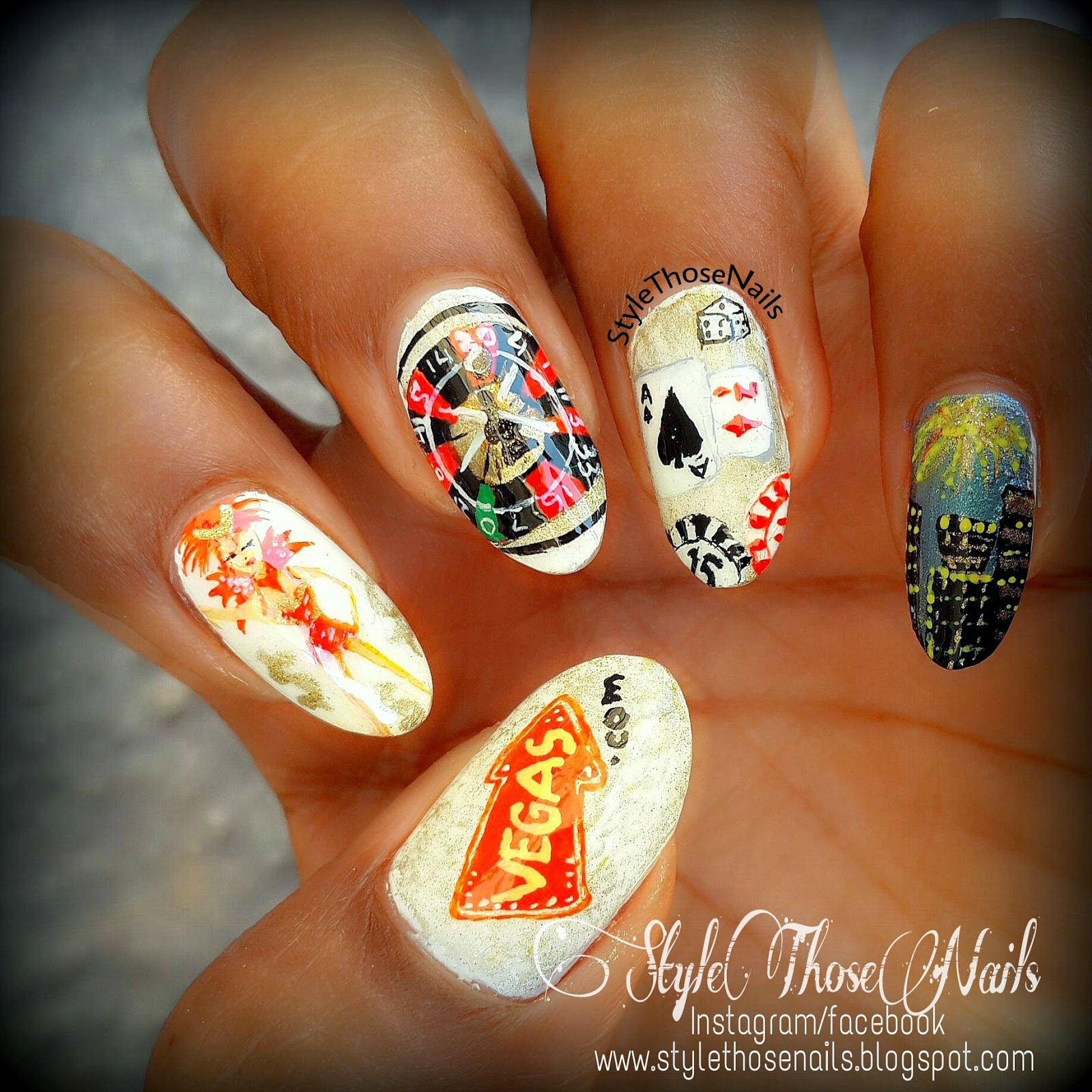 Style Those Nails Night Out In Vegas A Las Vegas Themed Nail Art