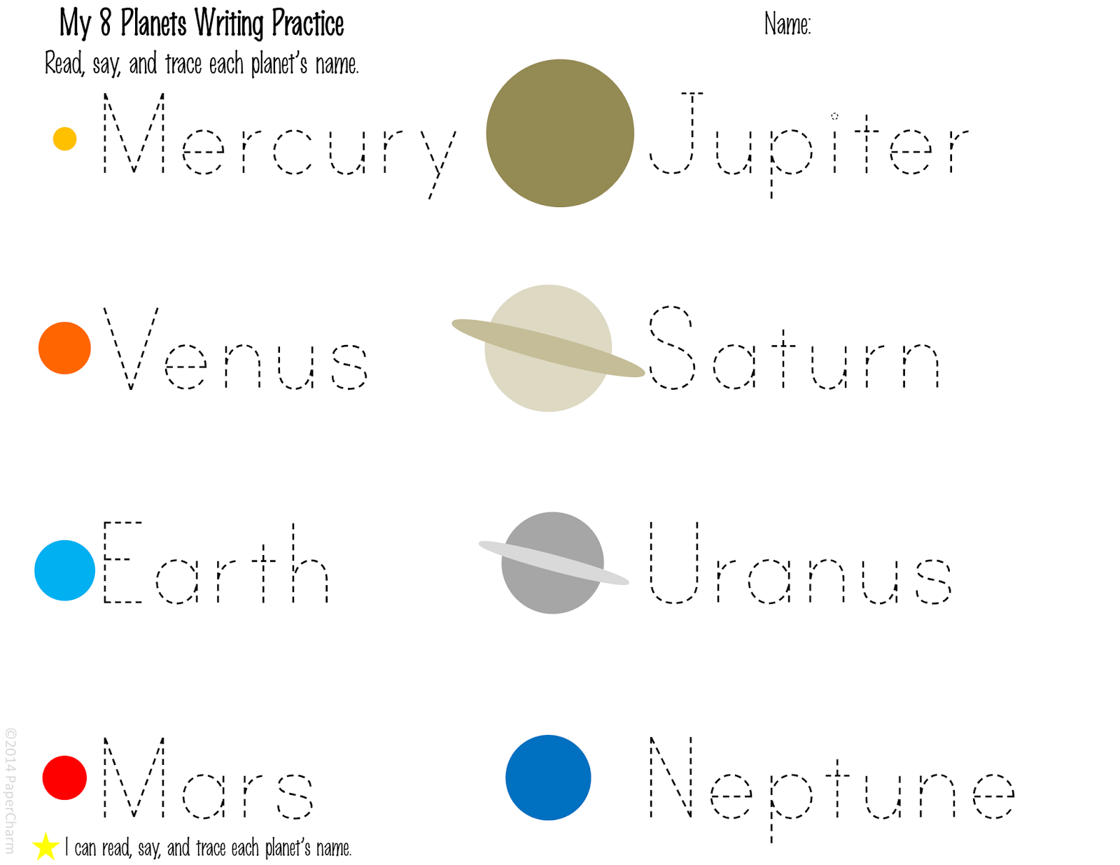 solar system worksheets - photo #23