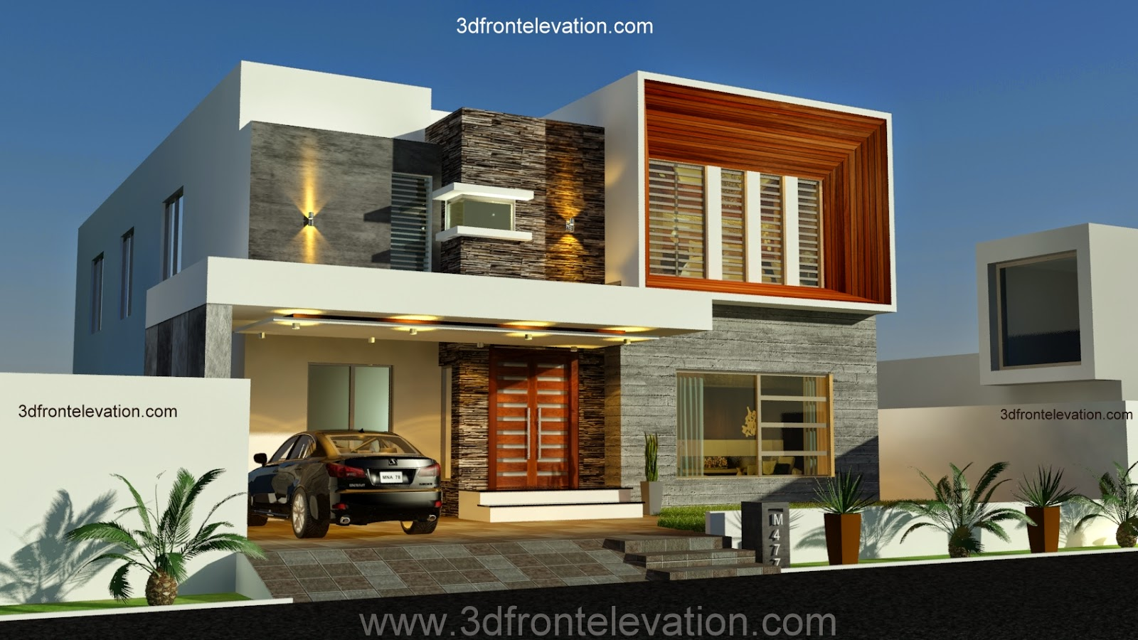 3d front 1 kanal contemporary house design for Latest modern house plans