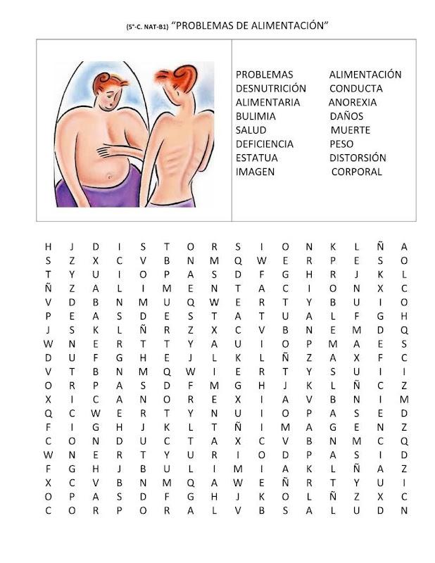 Sopa de letras anorexia y bulimia