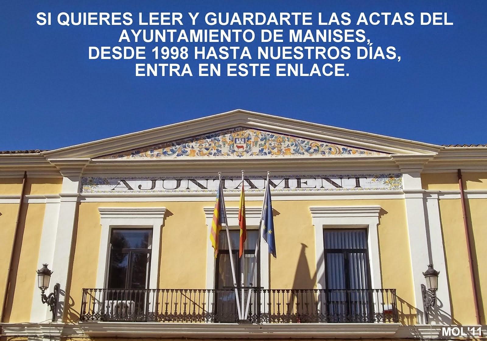 AYUNTAMIENTO DE MANISES: ACTAS DE LOS PLENOS DESDE 1998 HASTA HOY