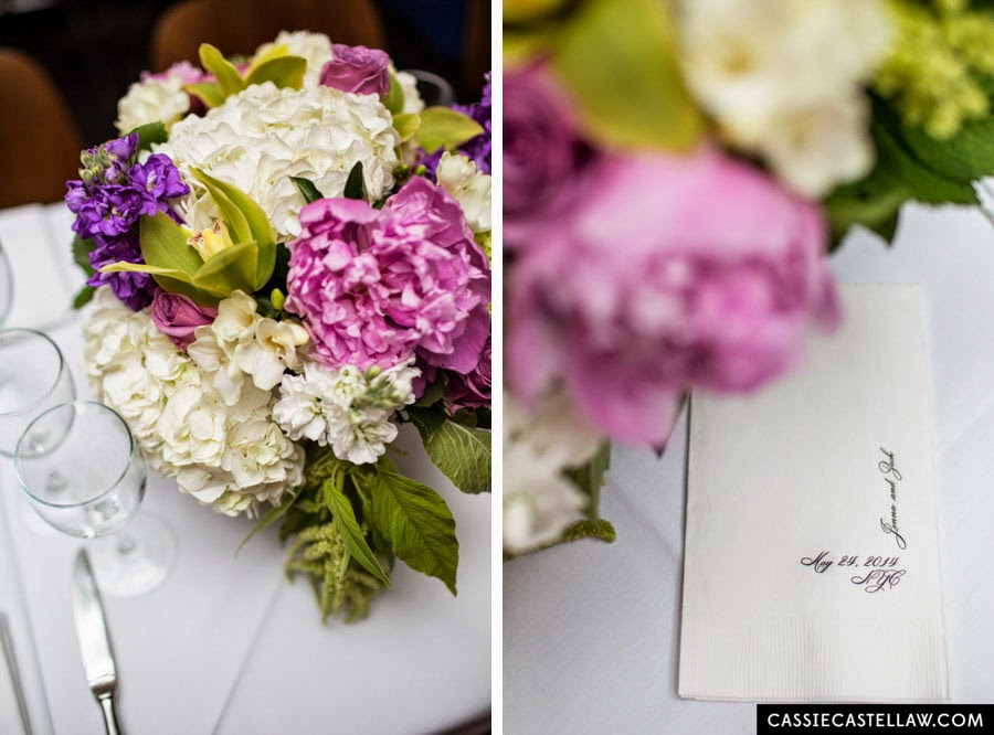Romantic summer bouquet: White and green hydrangea, pink roses, pink peony, green orchid, delicate purple flowers, monogrammed nakpins. NYC Lifestyle wedding photography by Cassie Castellaw. www.cassiecastellaw.com