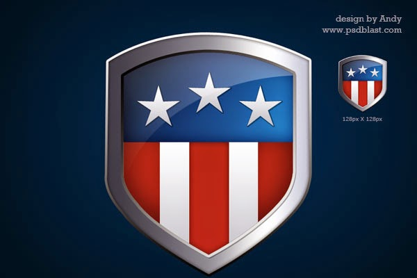 American Flag Shield Icon PSD
