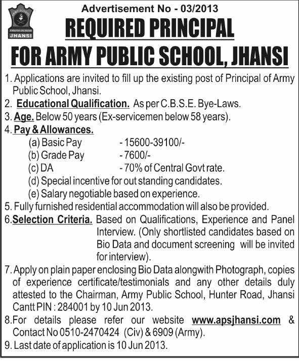 APS Jhansi Principal Advt.at www.freenokrinews.com