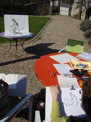 dessin au fusain encre de chine et encre de couleur