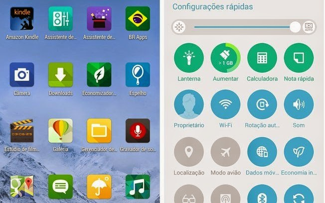 Telas de aplicativos e configurações do Zenfone com interface ZenUI