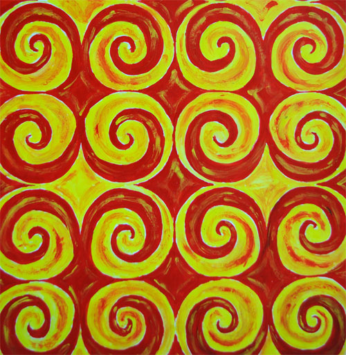 spiral pattern in red and yellow