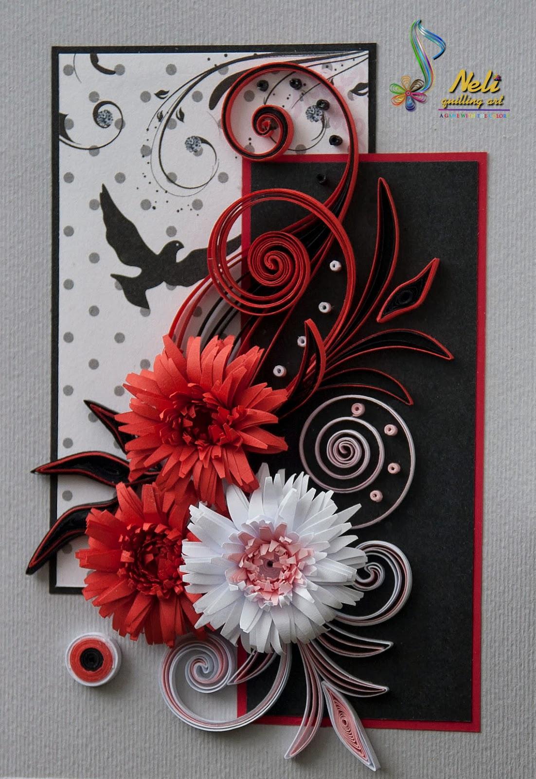Красивую открытку из квиллинга