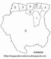 Mapa de la organización política de SURINAM, blanco y negro, mapa pequeño