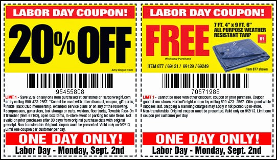 Harbor Freight 20 OFF Coupon: September 2014