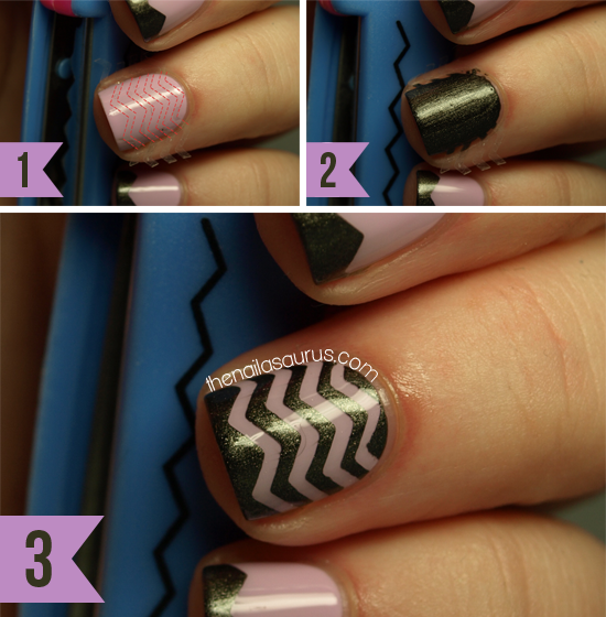 Easy Nail Art Using Tape: Tape Chevrons (with Step-by-Step) - The Nailasaurus