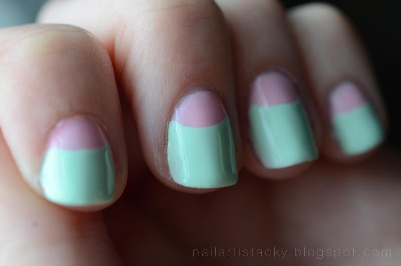 Half-Moon Manicure - Pastel Pink & Green
