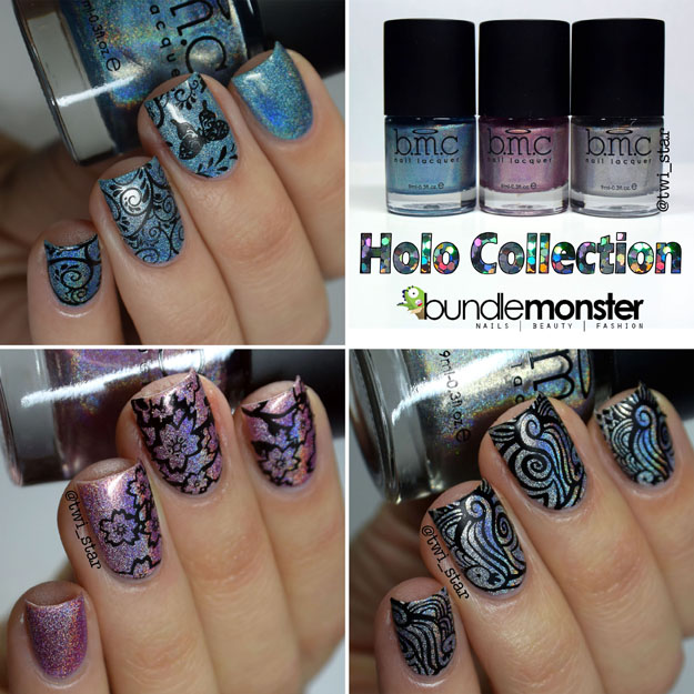 Bundle Monster Holographic Polish Blue Me Away Call You Maybe Buy Me Diamonds swatch