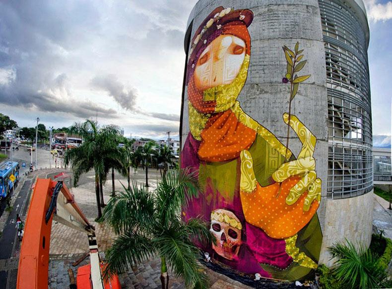 Nuevo mural retrato por INTI en Cali, Colombia