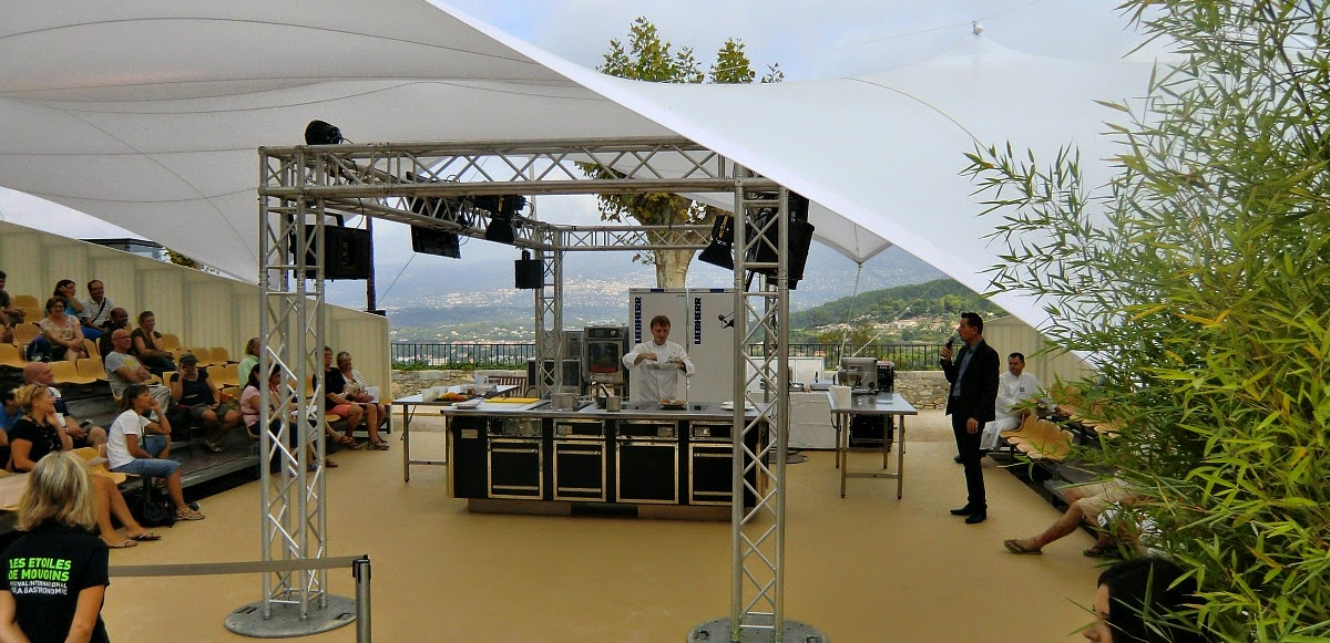 Chef demo in Mougins with Grasse in background