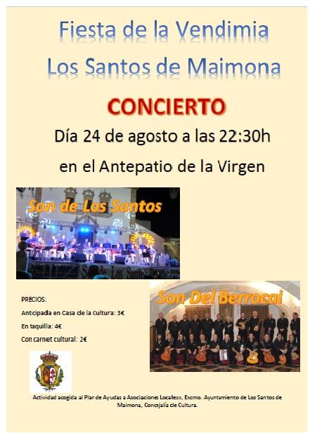 CONCIERTO EN LOS SANTOS DE MAIMONA: Fiesta de la Vendimia 24 agosto de 2018