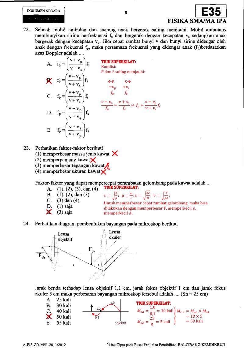 Soal Dan Pembahasan Un Fisika Sma Ma Ipa Paket E35 Kelas 3 Ta 2011 2012 Download Soal Sma Ma