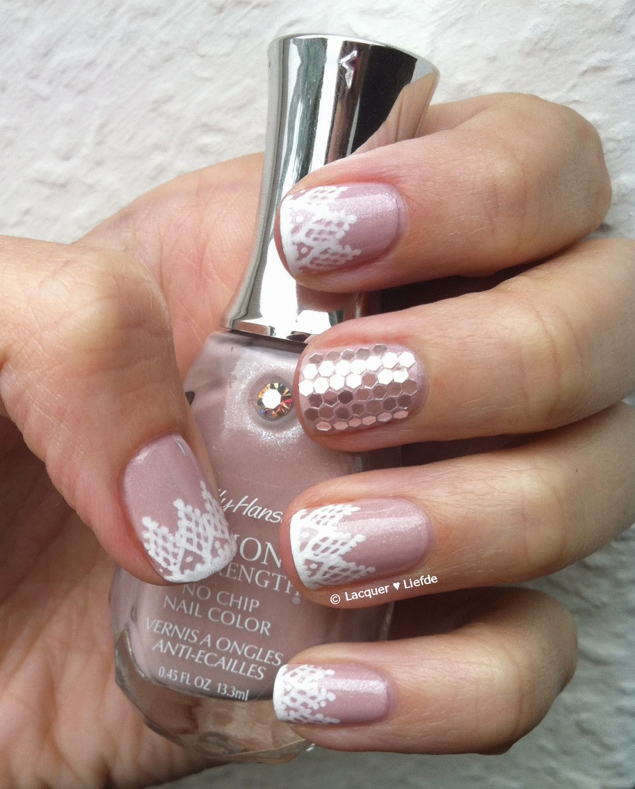 Wedding Nails, Lace Design, Freehand