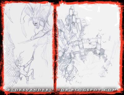 Bocetos y estudios previos para realizar el dibujo de la ilustración de portada de ÉPICA: Edades Oscuras, juego de cartas de fantasía medieval.