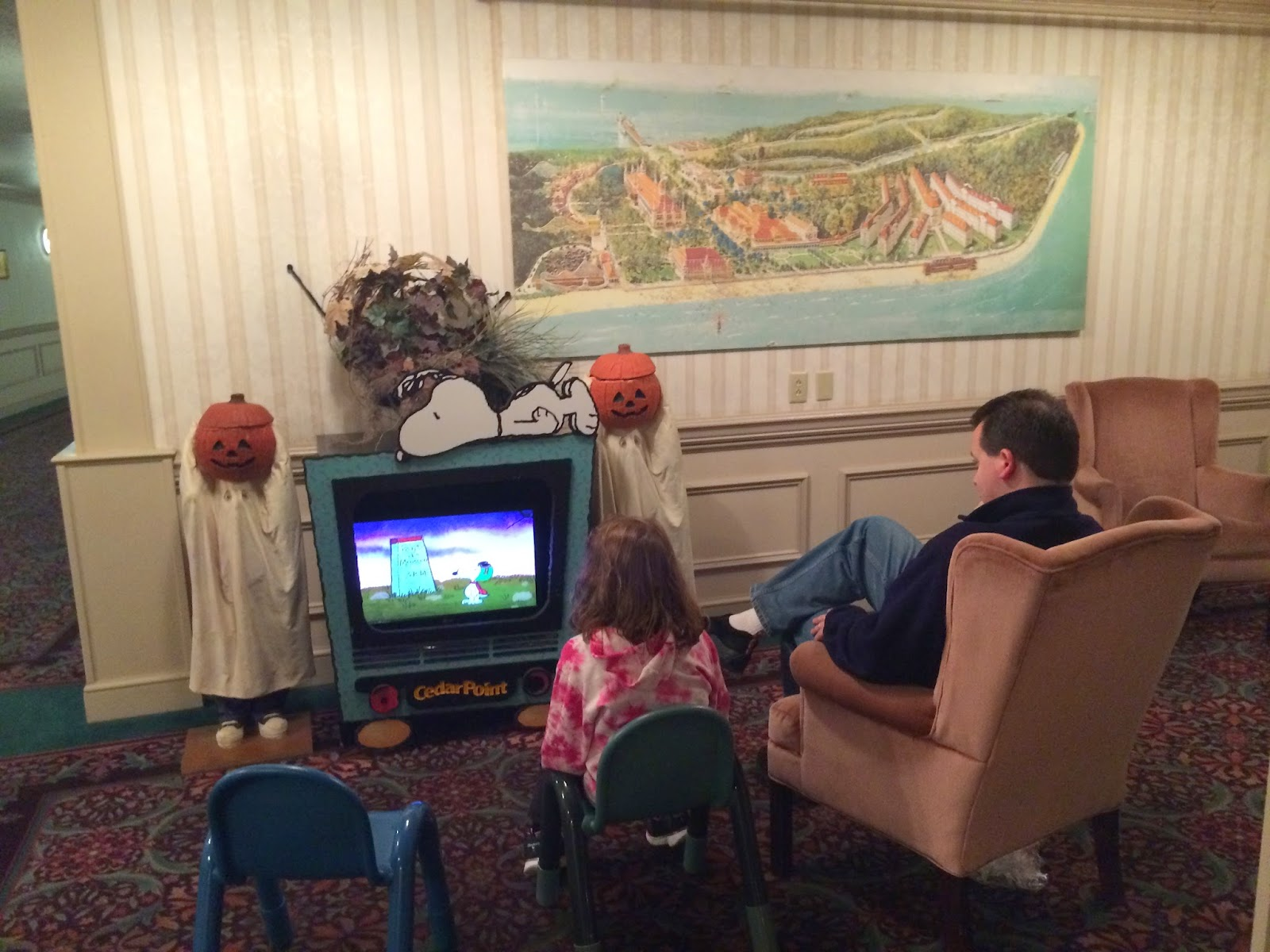 Watching It's the Great Pumpkin Charlie Brown in Cedar Point Lobby