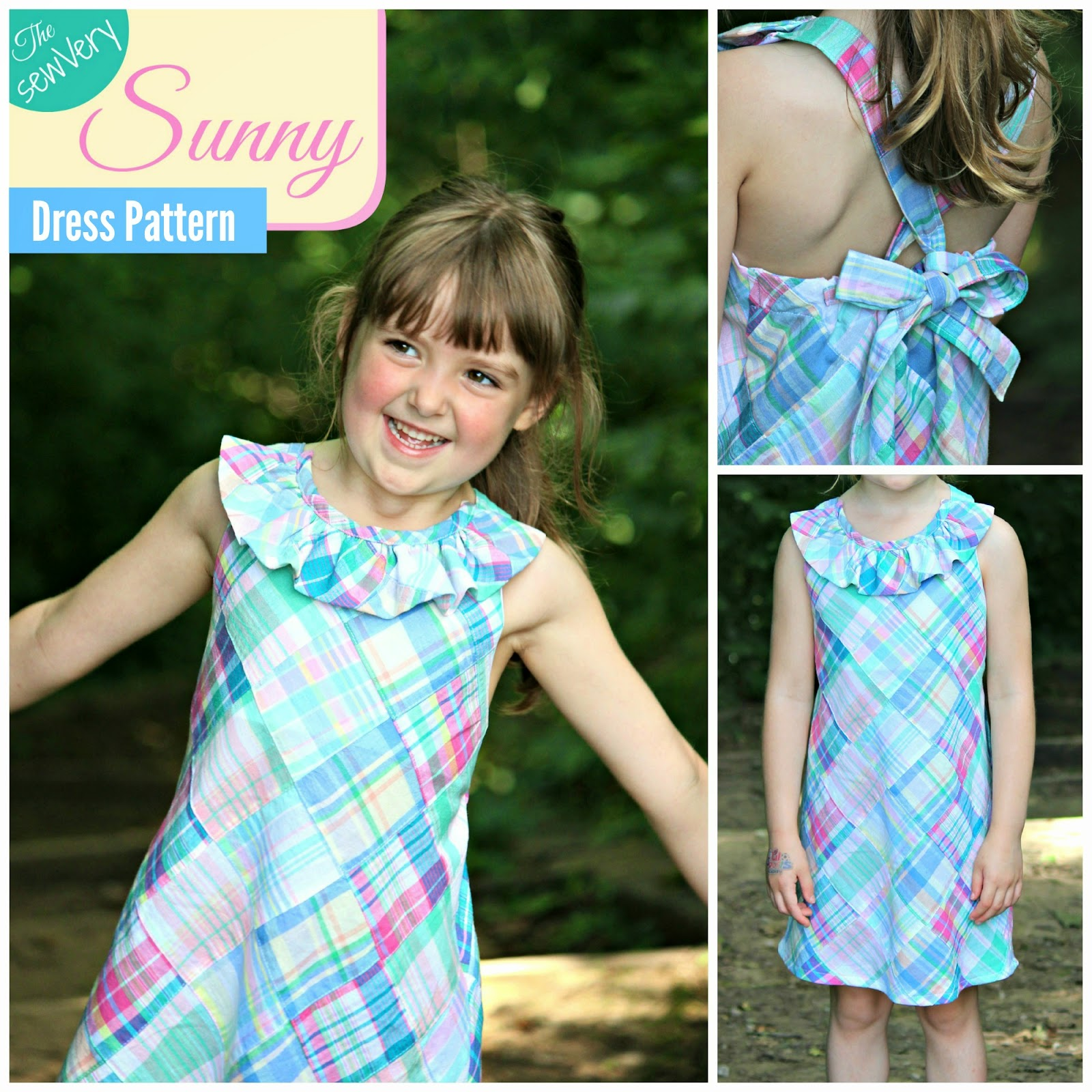 The sewVery Sunny Dress Pattern in Sizes 5, 6, and 7