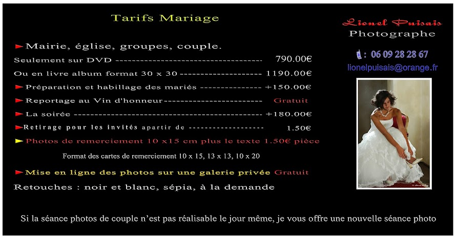 tarifs mariage - Photographe Mariage Bordeaux Tarif