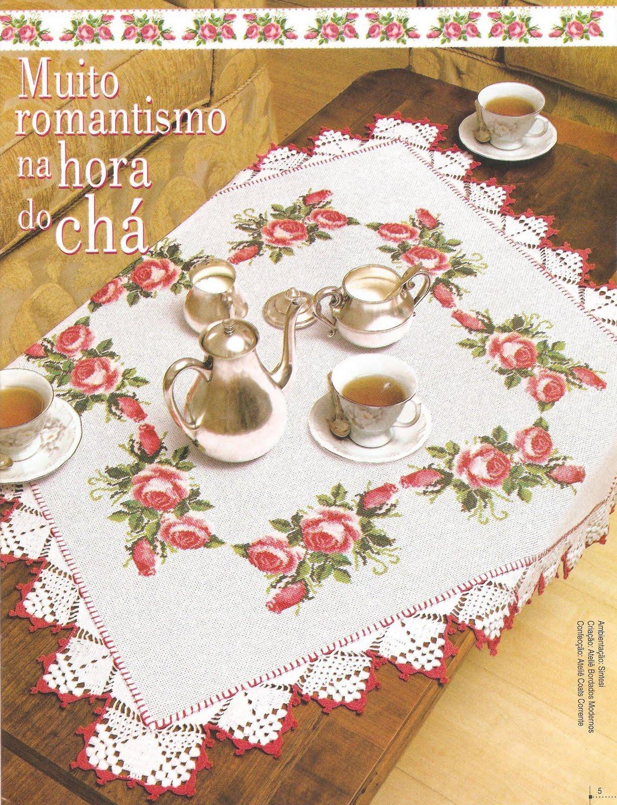 Rosas gráfico de ponto cruz para toalha de mesa