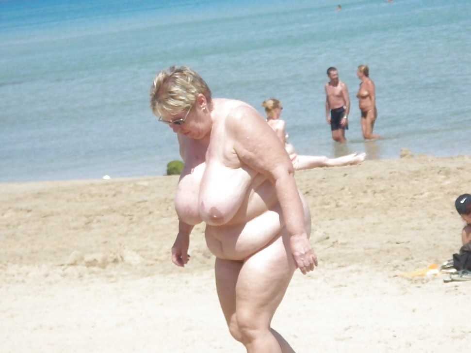 Her old granny on beach Webb