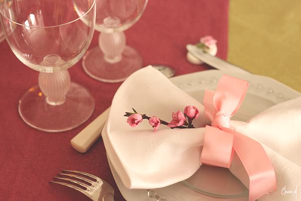 ruban rose couvert table pâques clemence m