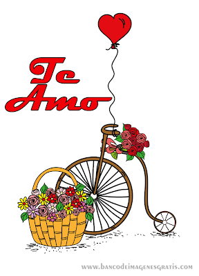 """Postal con mensaje de """"Te Amo"""" y Corazón Rojo con Flores"""