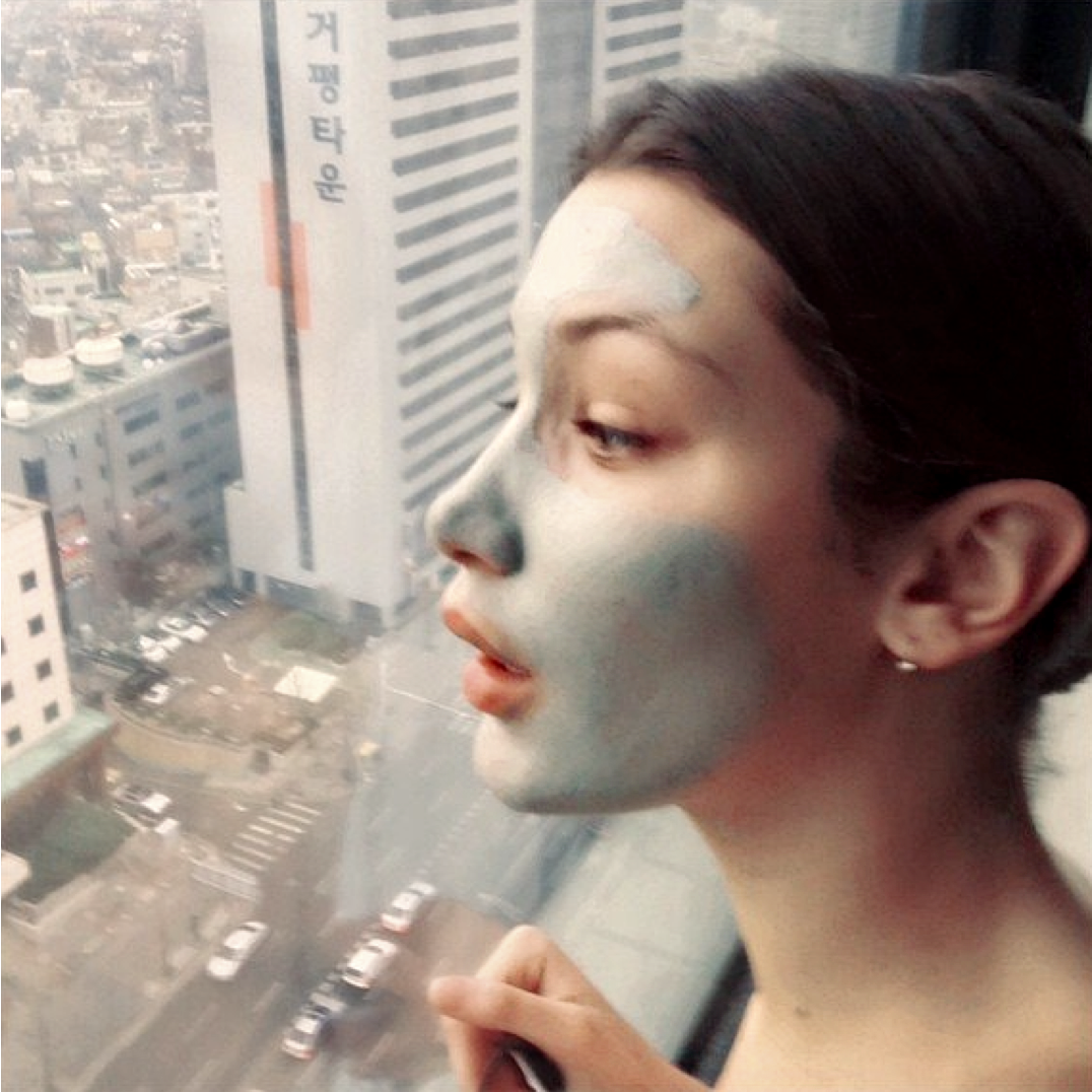 Supermodel and Instagram star Bella Hadid shares a selfie of her beauty routine while working in Asia.
