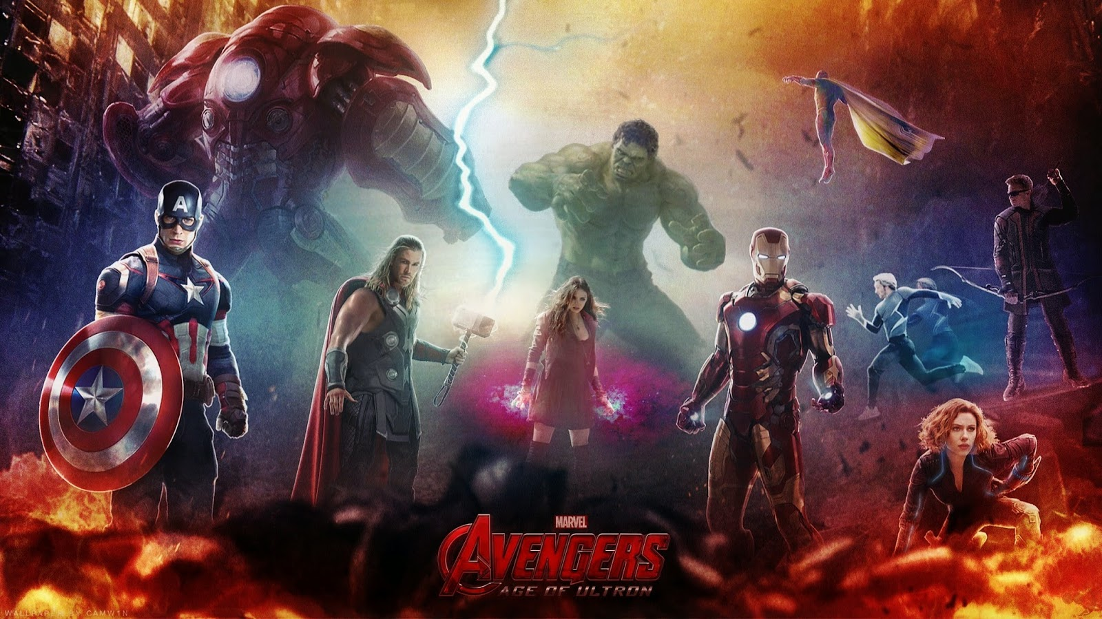 Avengers, Age of Ultron, movie comics Marvel, Robert Downey Jr, Mark Ruffalo, Chris Evans, Chris Hemsworth, Jeremy Renner, Scarlett Johansson, James Spader, Joss Whedon Captain America Iron Man Hulk Thor Black Widow Hawkeye Nick Fury Scarlet Witch Quicksilver Vision