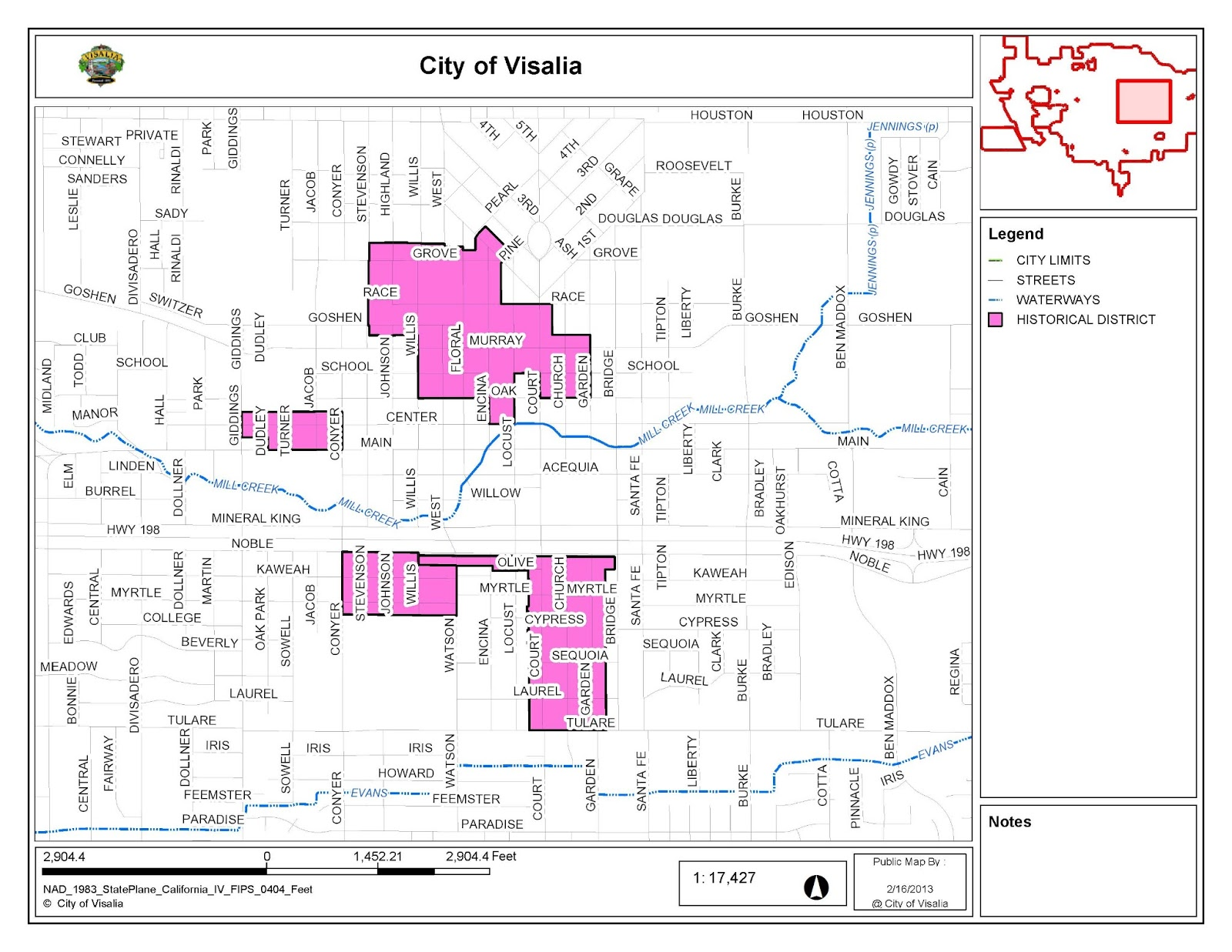 Visalia Heritage Map of Visalias Historic Districts