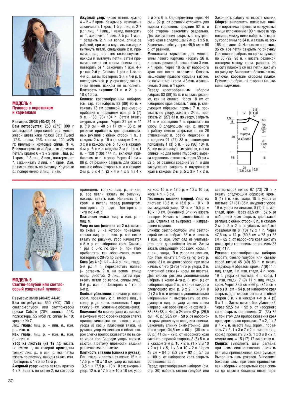 Журнал Сабрина - Описание вязания, схемы вязания