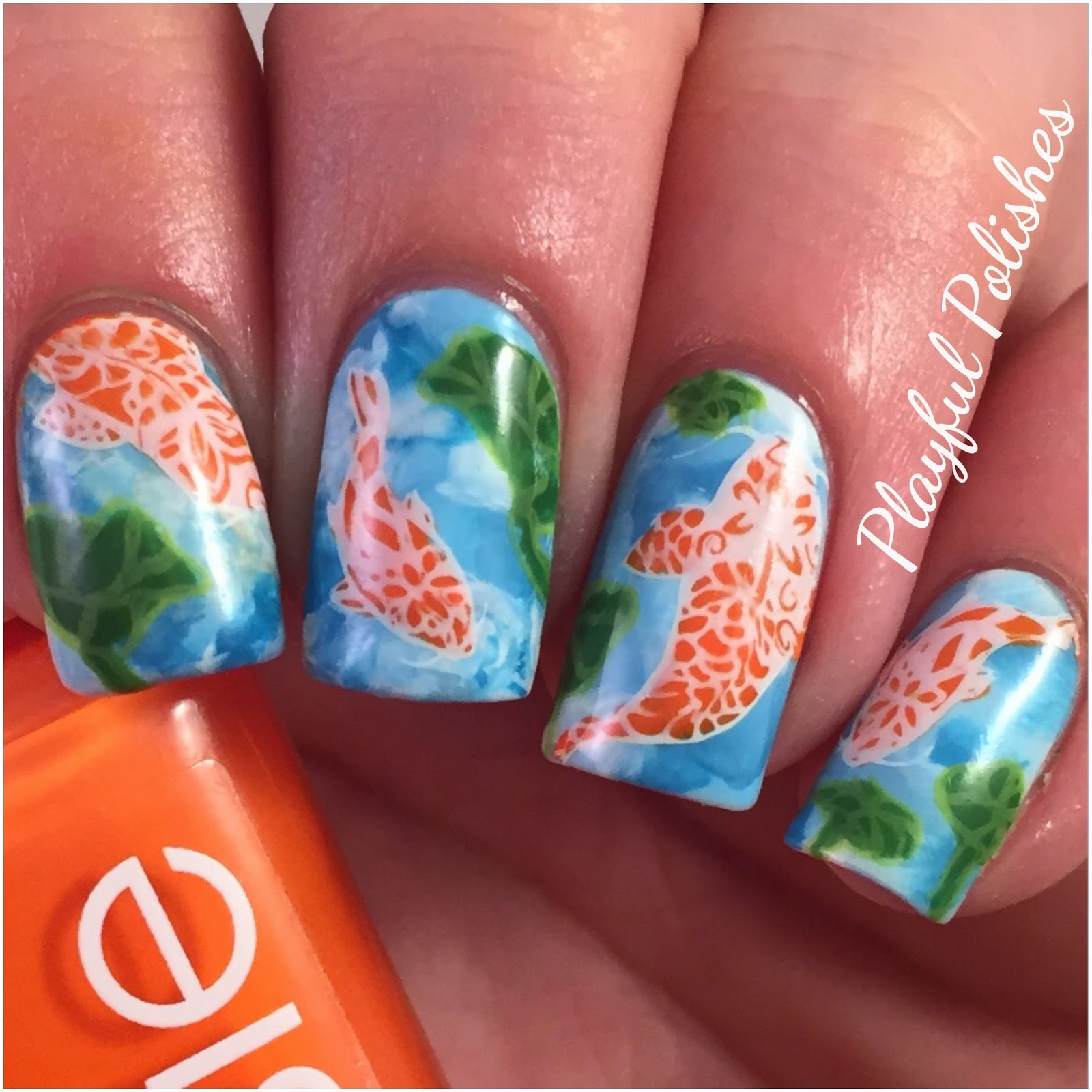 Playful Polishes: ADVANCED STAMPING NAIL ART/KOI FISH NAIL ART