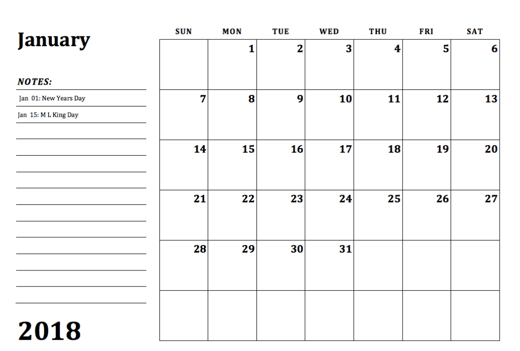 december calendar printable 2018