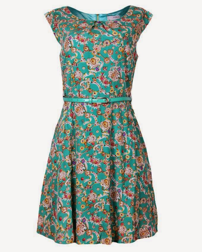 Flare dress closet closet belted floral day dress green multicolour
