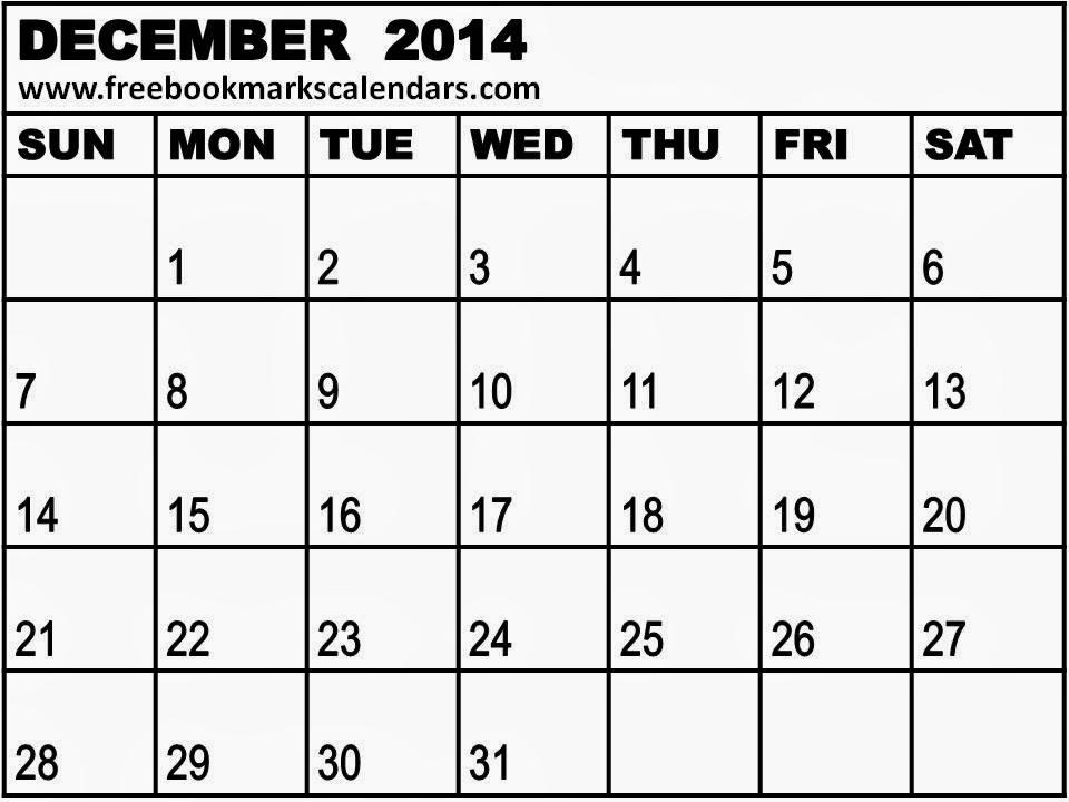 Blank December Calendar 2014 Blank calendar 12 months