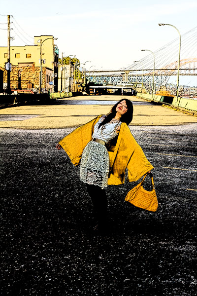 One teaspoon mustard kimono, vintage lace multi layer dress, roman tights from asos, thrifted shoes, thrift finds, vintage style, yellow gucci purse, gold vintage belt, down by the pier, old vancouver, artistic expression, fashion, style, vintage, thrift, street style, yellow on yellow, how to wear yellow with yellow, forever21 gold multi strand necklaces, One Teaspoon Almost Innocent Kimono