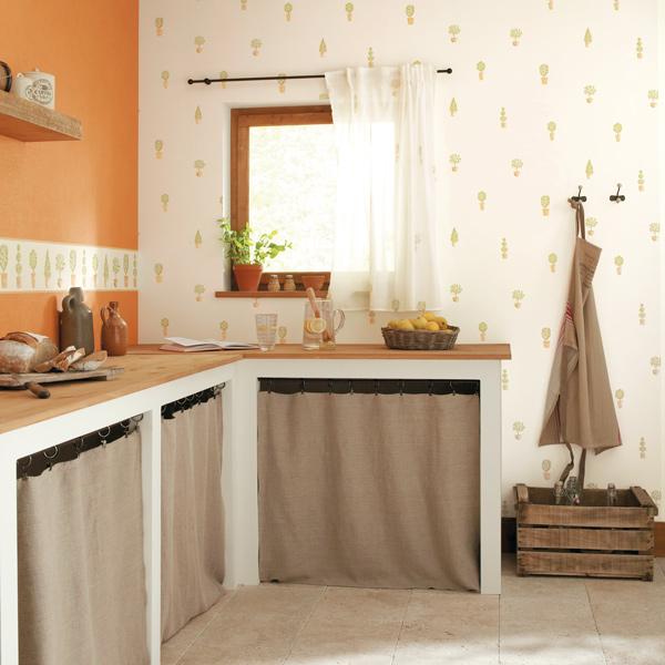 Papel pintado papel pintado cavaillon cocinas for Papel vinilico cocina