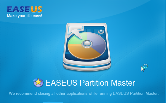 EASEUS Partition Master : Welcome Screen